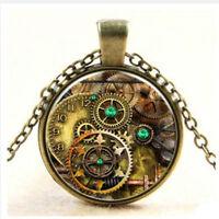 Punk Metal Steampunk Gears Clock Watch-Face Glass Art Pendant Chain Necklace