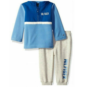 NWT $50 TOMMY HILFIGER Baby Boy 2 Piece Set Fleece Top/Joggers Blue SELECT SIZE