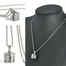 Mini Box Pet Cremation Ashes Urn Memorial Pendant for Necklace Jewelry Silver