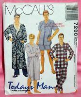 Uncut McCalls Mens Sz Medium 38-40 Robe Nightshirt Pajama Pants Top Pattern 7200