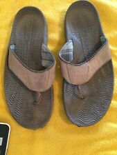 Sperry Top Sider Men's Brown Leather Comfort Flip Flops Size 12 M Shoes Sandals