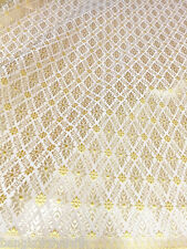 "CREAM GOLD THAI SILK DAMASK 2-TONE FABRIC 40""W WEDDING DRESS SKIRT TABLECLOTH LL"