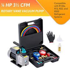 Omt Vacuum Pump Amp Ac Manifold Gauge Set 3 Hoses For R502 R134a R12 R22 Ac Work