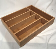 New listing Silverware Utensil Cutlery Tray Bamboo wooden Drawer Dividers 5 Compartments