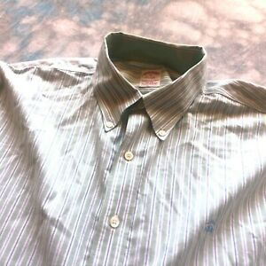 Brooks Brothers Original Polo Sz XL 17.5-37 Grn Non-Iron Oxford Mens Shirt Logo
