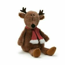 "Gund Brown Christmas Reindeer With Scarf 14"" Soft Plush 4061608 Stuffed Animal"