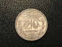 1942 MEXICO 20 CENTAVOS SILVER PLATA Mexican
