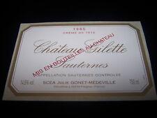 etiquette vin Chateau GILETTE 1985 crème de tête sauternes wine label bordeaux