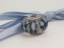 Pandora Black White Blossom Oversized Large XL Murano Glass Charm Bead 790752