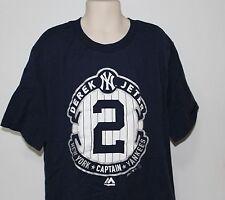 MLB New York Yankees Majestic Captain Derek Jeter Kids Large 14/16 Blue T Shirt