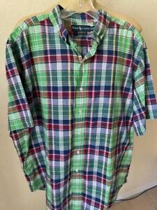 RALPH LAUREN Men's Multi Checked Classic Short Sleeve Dress Shirt Size XXL **