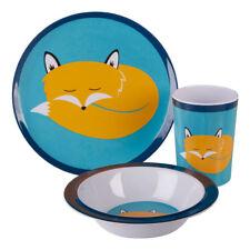 Mimo Kids Felix Fox Dinner Set 3 Piece Melamine Plate Bowl Mug Plastic