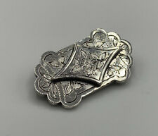 Silver Ornate Foliate Brooch Superb Victorian Solid Sterling