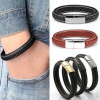 Men Punk Leather Stainless Steel Bracelet Wristband Cuff Bangle Jewellery Gift