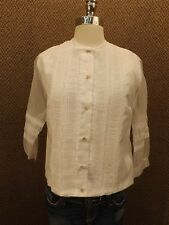 Vtg 1950s Boho NWOT White Nylon Ruched Lace Button Down Shirt 34 Sheer Sleeves