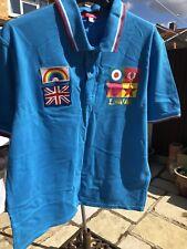 "FRED PERRY SIR PETER BLAKE Blue Polo Shirt. Ltd Edition 325/1000. 46"" XXL RARE"