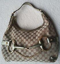 GUCCI monogram canvas leather metallic gold hardware horsebit bag purse hobo GG