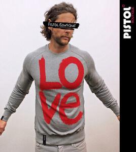 Pistol Boutique Men's Grey Standard Fit Raglan GRAFFITI LOVE Sweatshirt LARGE