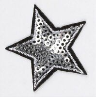 10PCS DIY Sequined Star Patch Glitter Embroidered Iron On Sew On Patch Clothing