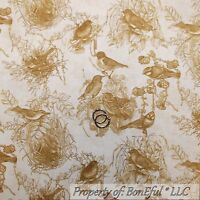 Bird Owl Feather Toss Warm Brown Tonal Cotton Fabric QT Wise Thing By The Yard