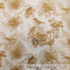 BonEful Fabric FQ Cotton Quilt VTG Cream Brown Gold Bird Nest Toile Damask Tonal