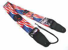 GUITAR STRAP ELECTRIC ACOUSTIC USA FLAG MOTORCYCLE DESIGN By CLEARWATER