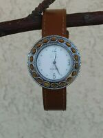 Ecclissi Sterling Silver Tigers Eye Bezel Leather Strap Watch New Battery