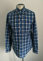 Mens GANT Smart Casual Blue Check Long Sleeve Shirt - Size Medium