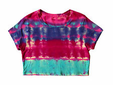 Tie Dye Crop Top Tee Tshirt medium Pink Turquoise Purple boho hippy hippie rave