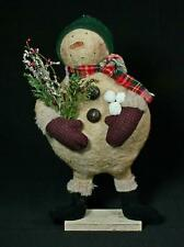 Hand-Crafted Primitive Rustic Folk-Art Snowman With Greenery And Snowballs