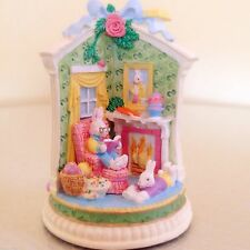 BUNNY FAMILY VILLAGE JELLYBEAN MANSION PORCELAIN EASTER COTTAGE COLLECTIBLE NEW