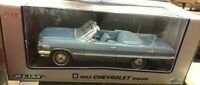 RARE WELLY 1963 Chevrolet Impala Light Blue Convertible Diecast in box 1:18