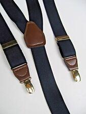 CAS Germany Suspenders Black w Leather Trim & Brass Braces Trendy Fashion