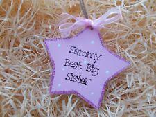 Sparkly Best Big Sister Star Tag Plaque Gift Keepsake