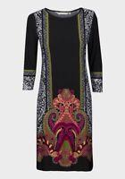 Epilogue Jersey Size 10-14 Black Ornamental Print Knee Length Dress