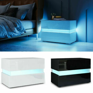 2 Drawers Bedside Table Cabinet High Gloss Side End Table Nightstand LED RGB