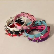 Pet Dog & Cat Spiked PU Leather Collar multiple colors and size: XS S M L PC01
