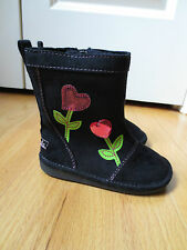 Baby Girl PINK JEWEL GEM FLOWERS HEARTS BLACK FAUX SUEDE BOOTS NWT 5