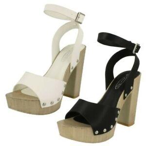 Spot On Ladies High Platform Wood Clog Peep Toe Sandals