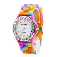 Girls Women Rainbow Rhinestone Crystal Silicone Jelly Link Band Dress Watches