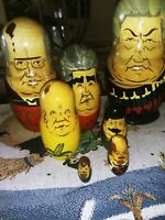 "VTG Wood Hand PaInted Russian Presidents Leaders  Nesting Dolls Set 7 Pcs  8"""