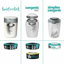 Tommee Tippee Twist and Click Sangenic Nappy Disposal Bin System White 1refill