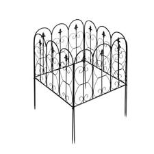 5 Panel Garden Fence Wrought Iron Fence Patio Yard Fencing Border Edging Barrier