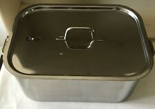 Vintage NEW STAINLESS STEEL 3 PIECE ROASTER With RACK And VENTED LID 11x8x5