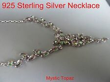 100% 925 Sterling silver Necklace, natural stone necklace(Mystic Topaz)OZ Seller