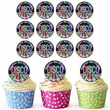 Disco Floor 24 Personalised Pre-Cut Edible Circles Birthday Cupcake Toppers