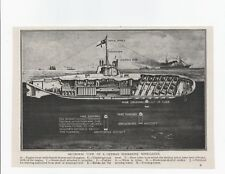 "1917 WWI print SECTIONAL VIEW OF A GERMAN SUBMARINE MINE-LAYER. 7½"" X 5½"""