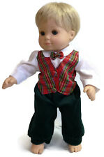 1 pc Plaid Holiday Outfit Boy fits 15 inch Bitty Baby & Twin Doll Clothes