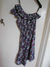 Knee Length Teal Green Red Purple Floral One Shoulder Dress in Size 14 - BNWT