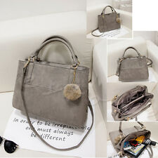 Ladies Shoulder Tote Bag Messenger Suede Leather Women Purse Fur Ball Handbag